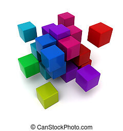 Multicolored cubic background