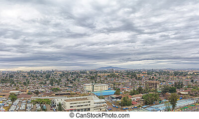 Aerial view of the city of Addis Ababa, showing the densely...