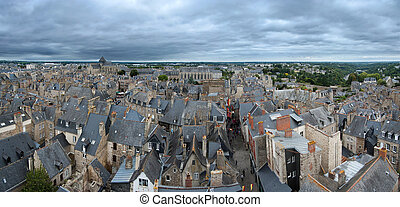 Aerial view of medieval town