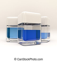 Blue liquid - 3D rendering of 3 containers with blue liquid