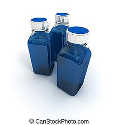 Trio of blue little bottles - 3D rendering of three little...
