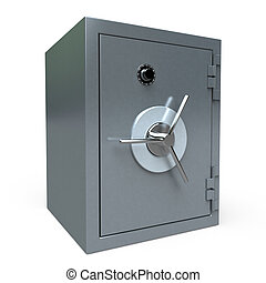 locked Safe - 3D rendering of a locked safe deposit box