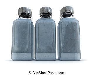 Trio of grey bottles - 3D rendering of three little bottles...