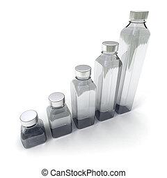 5 bottles in different sizes - 3D rendering of five bottles...