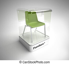 Design green chair showcase - Green design chair in a design...
