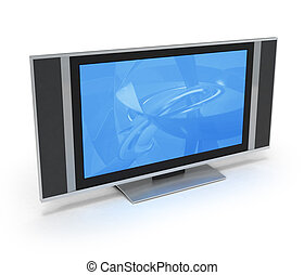 LCD screen TV with blue display