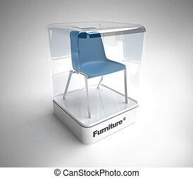 Design blue chair showcase - Blue design chair in a design...