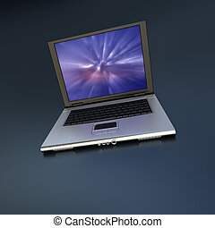 Open laptop with abstract screen saver - 3D-rendering of an...