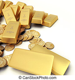 Gold treasure - A fortune in gold ingots and coins