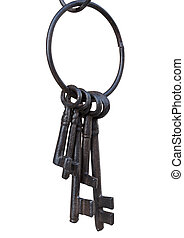Ancient key ring - Old rusty key ring on a white background