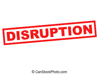 DISRUPTION red Rubber Stamp over a white background