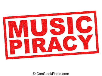 MUSIC PIRACY red Rubber Stamp over a white background.