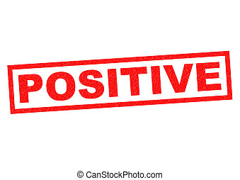 POSITIVE red Rubber Stamp over a white background
