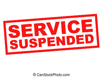 SERVICE SUSPENDED red Rubber Stamp over a white background.