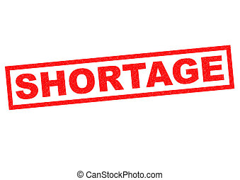 SHORTAGE red Rubber Stamp over a white background.