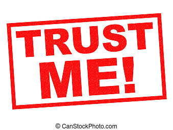 TRUST ME red Rubber Stamp over a white background
