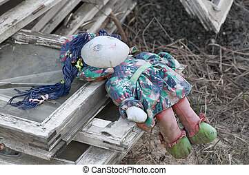 Old rag doll. - Forgotten children toy. Old rag doll on the...