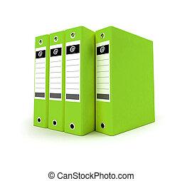 Green Ring binders - 3D-rendering of a group of ring binders...