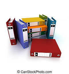 Colorful Ring binders - 3D-rendering of a group of ring...