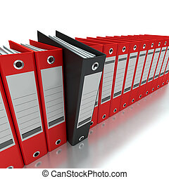 Filing and organizing information - 3D rendering of a line...
