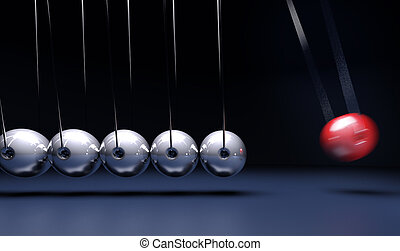 Newtons craddle - 3D rendering of Newton's cradle pendulum