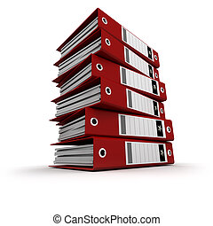 Red ring binders on a pile - A pile of red ring binders...