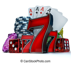 Gambling background - 3D rendering composition with...