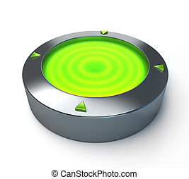 Green light - Metallic circular object with a green light