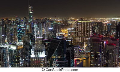 Dubai Marina at Blue hour, Glittering lights and tallest...
