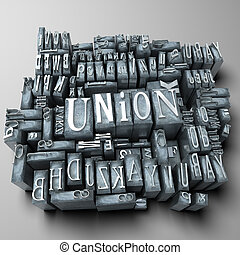Union - The word union written in print letter cases