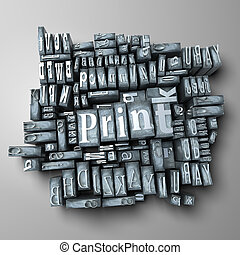 Printing press - Word print in print letter cases
