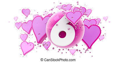 Sixth anniversary - Background in pink colors with hearts...