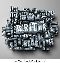 Writer - The word writer in print letter cases