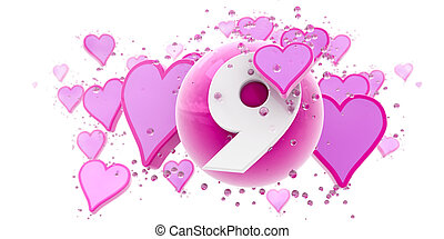 Ninth anniversary - Background in pink colors with hearts...