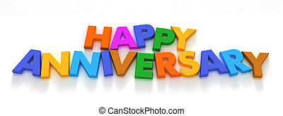 Happy Anniversary in capital letter magnets on a neutral...
