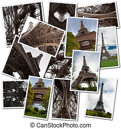 Eiffel tower collection - Collage with different views of...