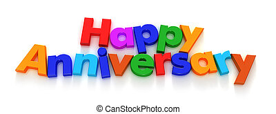 Happy Anniversary in colourful letter magnets on a neutral...