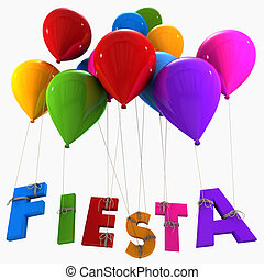 Fiesta - 3D rendering of a group of multicolored flying...