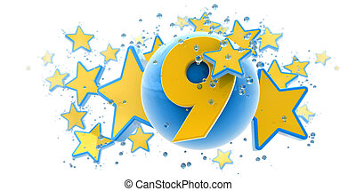 Ninth anniversary blue and yellow - Background in blue and...