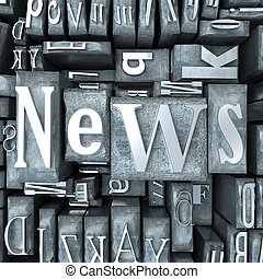 News broadcast - The word news written in print letter cases