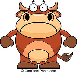 Cartoon Brown Cow Sad