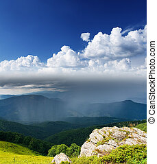 mountain landscape - Landscape with mountains and overcast...