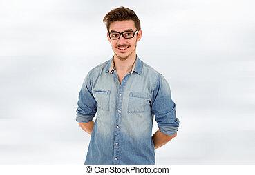happy casual man - young happy casual man portrait, studio...