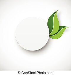 Paper white circle with leaves on white background
