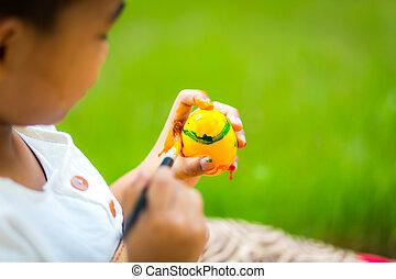 絵, イースター, 卵, ペイントブラシ, 子供