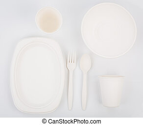Eco friendly Unbleached plant fiber dishware set : plate, spoon