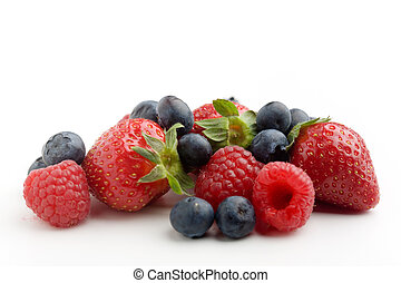 Berries - Strawberries, raspberries and blueberries on white