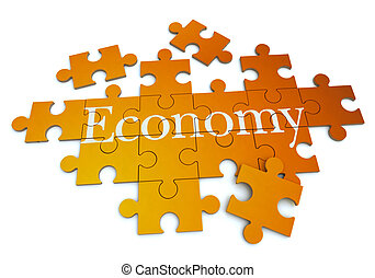 Economy puzzle - 3D rendering of a forming puzzle with the...