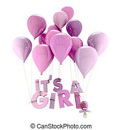Its a girl - 3D rendering of blue balloons with its a girl...