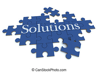 Solutions puzzle in blue - 3D rendering of a forming puzzle...